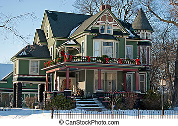 Christmas Victorian Home - Victorian house decorated for...