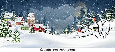 Winter Christmas landscape with village houses covered with snow in a pine forest and bullfinches on a branch
