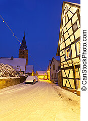 Christmas Village At Night, Germany - An old street with...
