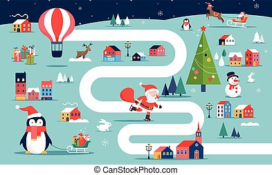 Christmas village map, winter town, board game with illustrations