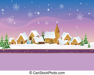 Christmas Village - vector illustration of a beautiful ...