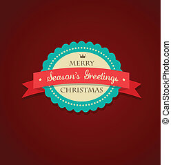 Christmas vintage background with sticker and ribbon