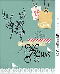 Christmas vintage card, retro concept with deer