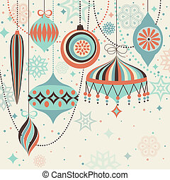 Christmas vintage card with baubles. Vector illustration
