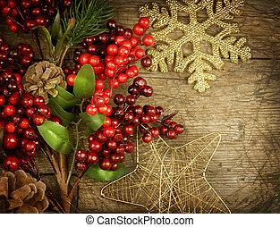 Christmas Vintage decoration border design over old wood background
