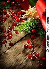 Christmas Vintage decoration border design over wooden backgroun