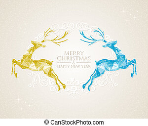 Christmas vintage deer greeting card