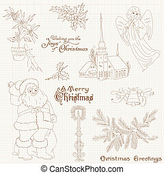 Christmas Vintage Design Elements - for scrapbook, invitation, greetings