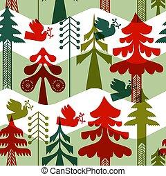 Christmas vintage folk pine tree seamless pattern