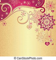 Christmas vintage gold-red background
