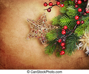 Christmas Vintage Greeting Card with copy space