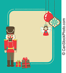 Christmas vintage greeting card with nutcracker and ornaments