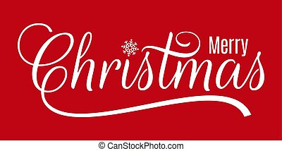 Christmas vintage lettering merry xmas on red background