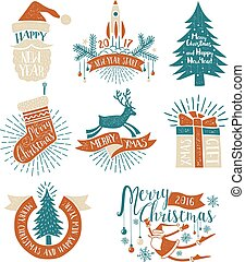 Christmas colored vintage logos, lettering and symbols with decorative elements. Text and letterpress effect on separate layers.