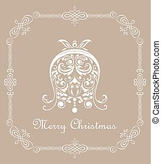 Christmas vintage pastel card with paper decorative cut out bell