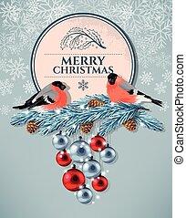 Christmas vintage postcard - Vector christmas vintage...