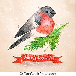 Christmas vintage postcard with bullfinch bird - Christmas ...