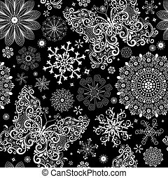 Christmas black lacy seamless pattern with white vintage snowflakes and butterflies (vector)
