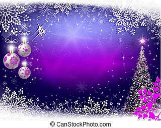 Christmas violet background with Christmas tree, balls and snowflakes