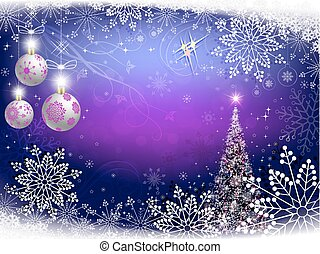 christmas violet background with snowflakes and christmas tree