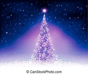 christmas violet, blue background with christmas tree