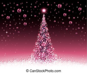 christmas violet, crimson background with tree and balls