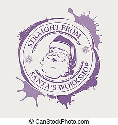 Christmas violet print with a silhouette of Santa Claus face with blots