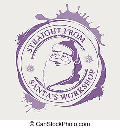 Christmas violet print with a silhouette of Santa Claus with big blots,