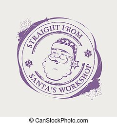 Christmas violet print with a silhouette of Santa Claus with blots.