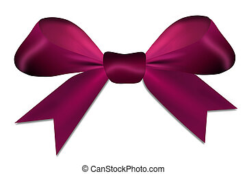 Christmas violet red bow isolated