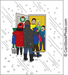 Christmas Visiting - A family being welcomed at the door of...