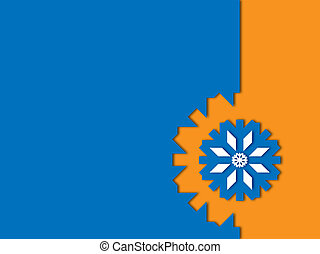 blue snowflake on orange a blue background