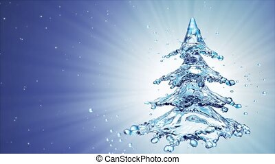 Christmas water splash tree on blue background