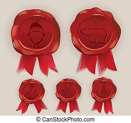 Christmas Wax Seal. Brown wafer with red ribbon on beige background. Template for cards, congratulations