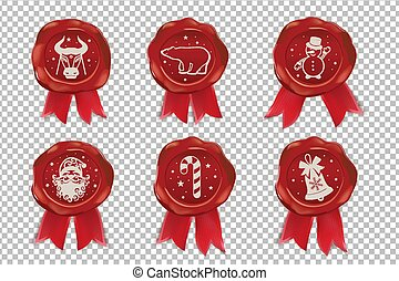 Christmas Wax Seal with pictures. Brown wafer with red ribbon on beige background. Template for cards, congratulations. Vector illustration