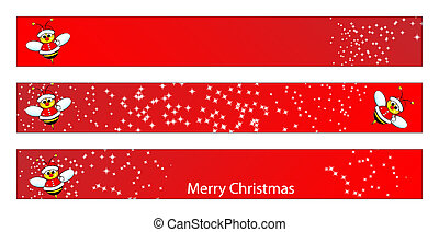 Christmas web banner with a bee - Christmas web banner for...