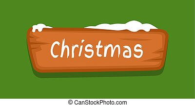 Christmas Web Button Covered with Snow Vector Icon