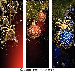 Christmas website banner set decorated with Xmas tree, jingle bell, snowflakes and lights