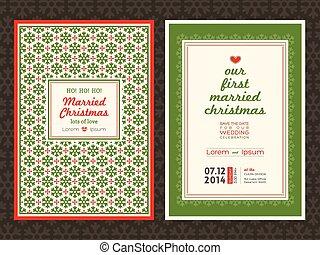 Christmas wedding invitation card
