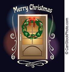 Christmas Welcome Wreath on front door Illustration