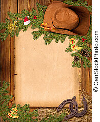 Christmas Western background with cowboy hat and old paper for text