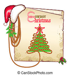 Christmas western background with red Santa hat and old paper card for text