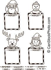 christmas whislist line art