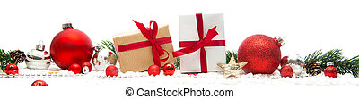 Christmas white background with christmas balls, gifts and decoration