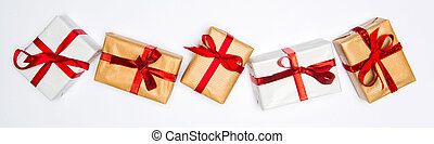 Christmas white background with gift and decoration