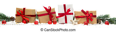 Christmas white background with gifts and decoration