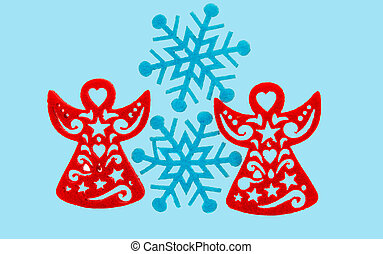 Christmas white background with red angel for your advertising