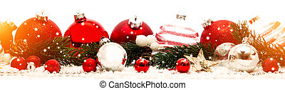 Christmas white background with christmas balls and...