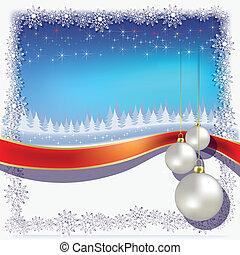 christmas white balls on blue background