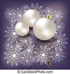 Christmas white balls on ice background
